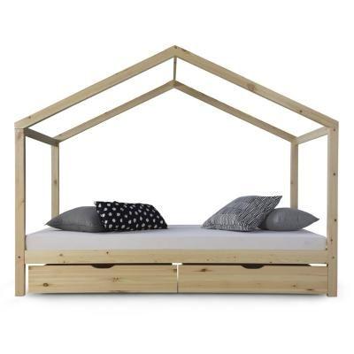 Házikó ágykeret 90x200 cm ,fiókkal, natur - CABANE